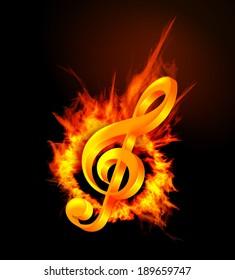 Fire violin key sign. Vector illustration on black background