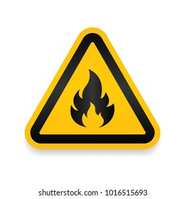 Fire Warning Dangerous flame attention icon icon. Flammable danger symbol, filled flat sign, solid pictogram, isolated on white. Exclamation mark triangle symbol, logo. Attracting security first sign.