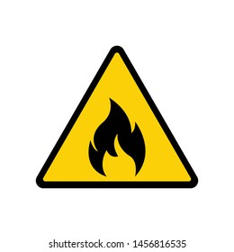 Fire warning sign on white. Fire warning sign in yellow triangle. Flammable, inflammable substances icon. Vector