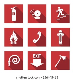 Fire Warning Signs - Flat Icons with Long Shadows - Vector Set