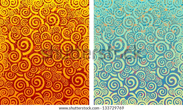 Fire and water. Abstract illustration. Vector backgrounds.