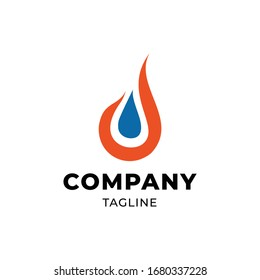 Fire Water Blue Orange Logo for Gas Oil Company