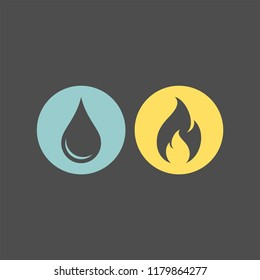 Fire and water flat vector icons. Flame and drop flat vector icons