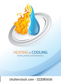 Fire And Water, Heating and Cooling Installation (Vector Art)