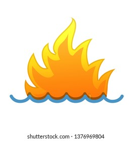 Fire and water. Illustration design over a white background