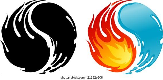 Fire Water of Yin-yang symbol