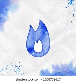 Fire watercolor icon. Amazing hand drawn style symbol. Uncommon painting. Modern design for infographics or presentation.