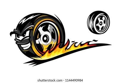 fire wheel cartoon sport illustration on white background