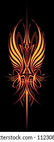 Fire Wing Pinstripe: Vertical Version Two color vector illustration of a pinstripe design element created for the hood of a hot rod or motorcycle tank.