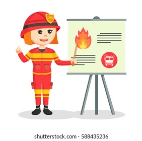 fire woman giving presentation