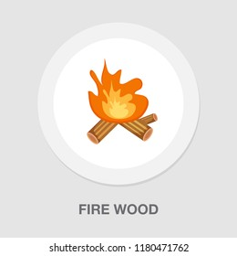 fire wood icon - campfire vector - firewood illustration - fire flame