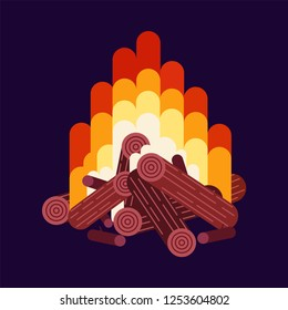 Fire with wood isolated on background. Bonfire, campfire with flames. Vector cartoon design