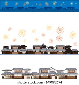 fire works. wooden city.
