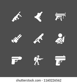firearm icon. 9 firearm set with gun and pistol vector icons for web and mobile app