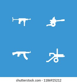 Firearm icon. collection of 4 firearm filled icons such as cannon. editable firearm icons for web and mobile.