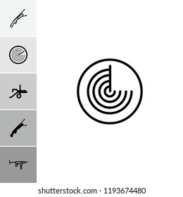 Firearm icon. collection of 6 firearm filled and outline icons such as cannon, submachine gun. editable firearm icons for web and mobile.