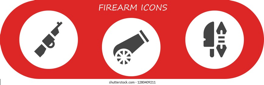 firearm icon set. 3 filled firearm icons. Simple modern icons about  - Rifle, Cannon, Weapon