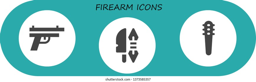 firearm icon set. 3 filled firearm icons.  Simple modern icons about  - Gun, Weapon, Weapons