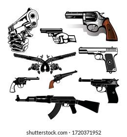 firearm, a pistol on a white background. Vector Design.