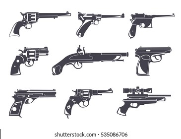Firearm set. Guns, pistols, revolvers. Flat design. Vector illustration