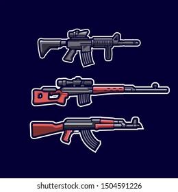 firearms AK47,SVD Dragunov sniper, M4 SOPMOD Mascot Gaming Esport Logo Template