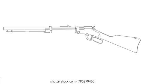 Firearms, Rifle, Weapon illustration, Vector Line, Gun illustration, Old Gun, Military concept