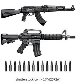 firearms set automatic machine gun, vector EPS 10