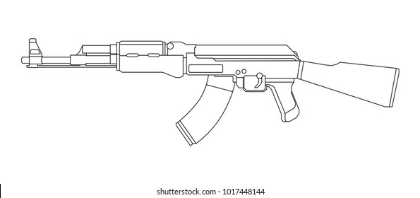 Firearms, Shooting gun, Weapon illustration, Vector Line, Gun illustration, Old Gun, Military concept