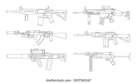 Firearms, Shooting gun, Weapon illustration, Vector Line, Gun illustration, Modern Gun, Military concept