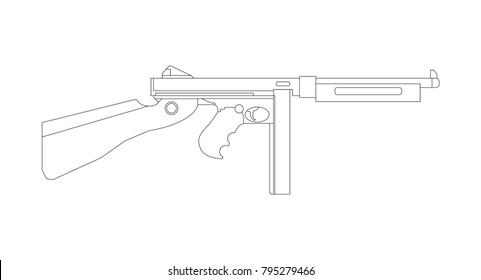 Firearms, Shooting gun, Weapon illustration, Vector Line, Gun illustration, Old Gun, Military concept