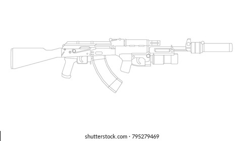 Firearms, Shooting gun, Weapon illustration, Vector Line, Gun illustration, Old Gun, Military concept, Ak 47