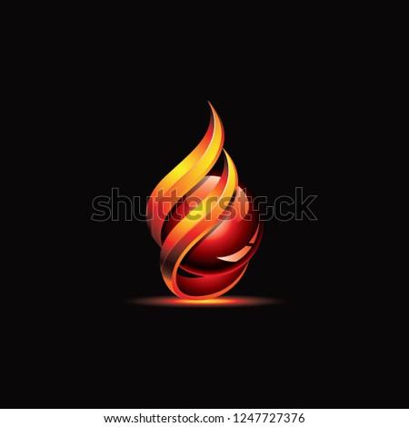 fireball flame logo gradient template vector stock vector royalty
