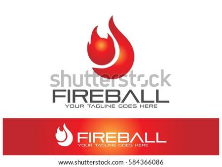 fireball logo template design vector stock vector royalty free
