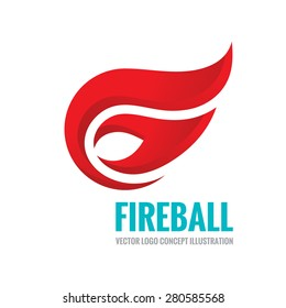 Fireball - vector logo template concept illustration. Fire flame sign. Hot warm symbol. Design element.