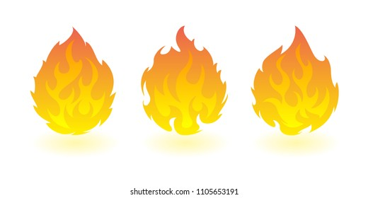 Fireballs. Set of vector fire design elements