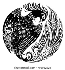 Firebird in circle in decorative vintage style. Magic fairy bird in ethnic folk manner. Black and white vector illustration