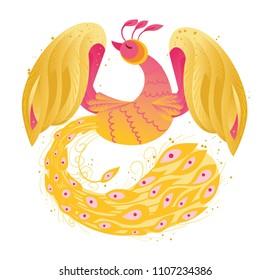 Firebird phoenix vector cartoon illustration