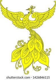 Firebird. Slavic fabulous beast.  Hand drawn isolated vector illustration. Heraldry.