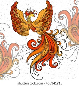 Firebird vector clipart.Black contour on a white background. Boho chic,coloring page,zentangle art New Year fire cock. National Russian painting art Khokhloma.Red and orange colors.Handicraft ornament