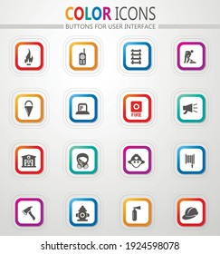 Fire-brigade vector icons for user interface design