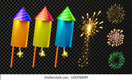 Firecracker And Festive Firework Light Set Vector. Collection Of Colorful Firecracker, Rocket Petard And Stars Bright Decoration. New Year Or Birthday Celebration Carnival Realistic 3d Illustration