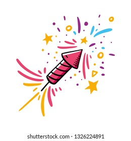 Firecracker Hand drawn vector illustration. Cartoon style. Isolated on white background.