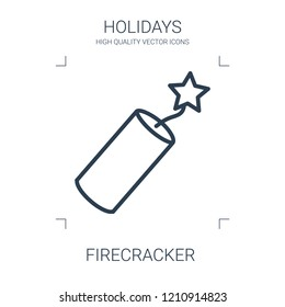 firecracker icon. high quality line firecracker icon on white background. from holidays collection flat trendy vector firecracker symbol. use for web and mobile