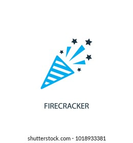 Firecracker icon. Logo element illustration. Firecracker symbol design from 2 colored collection. Simple Firecracker concept. Can be used in web and mobile.