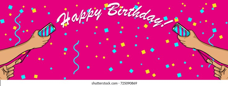 to firecrackers, banner for holiday, happy birthday