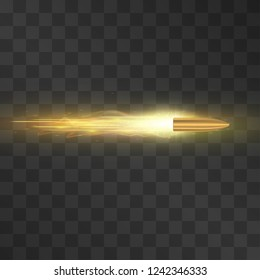 Fired bullet with shining trail, flying to the target vector.  Aggressive attack, dangerous fight, powerful strike or conflict symbol. Bronze slug on transparent background. Fire shot illustration.