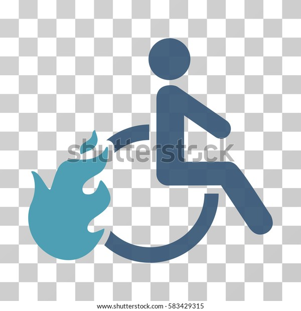 Fired Disabled Person vector pictogram. Illustration style is flat iconic bicolor cyan and blue symbol on a transparent background.