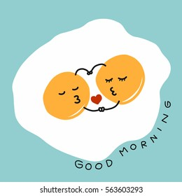Fired eggs hug and kiss and good morning word cartoon vector illustration on blue background