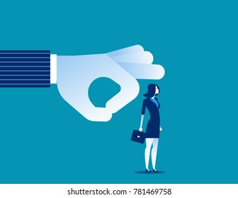 Fired. Manager flicking businesswoman off team. Concept business vector illustration.