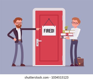 Fired office worker and boss. Young employee dismissed from a job by angry manager, discharged for bad work, misconduct, unable to save professional career. Vector flat style cartoon illustration